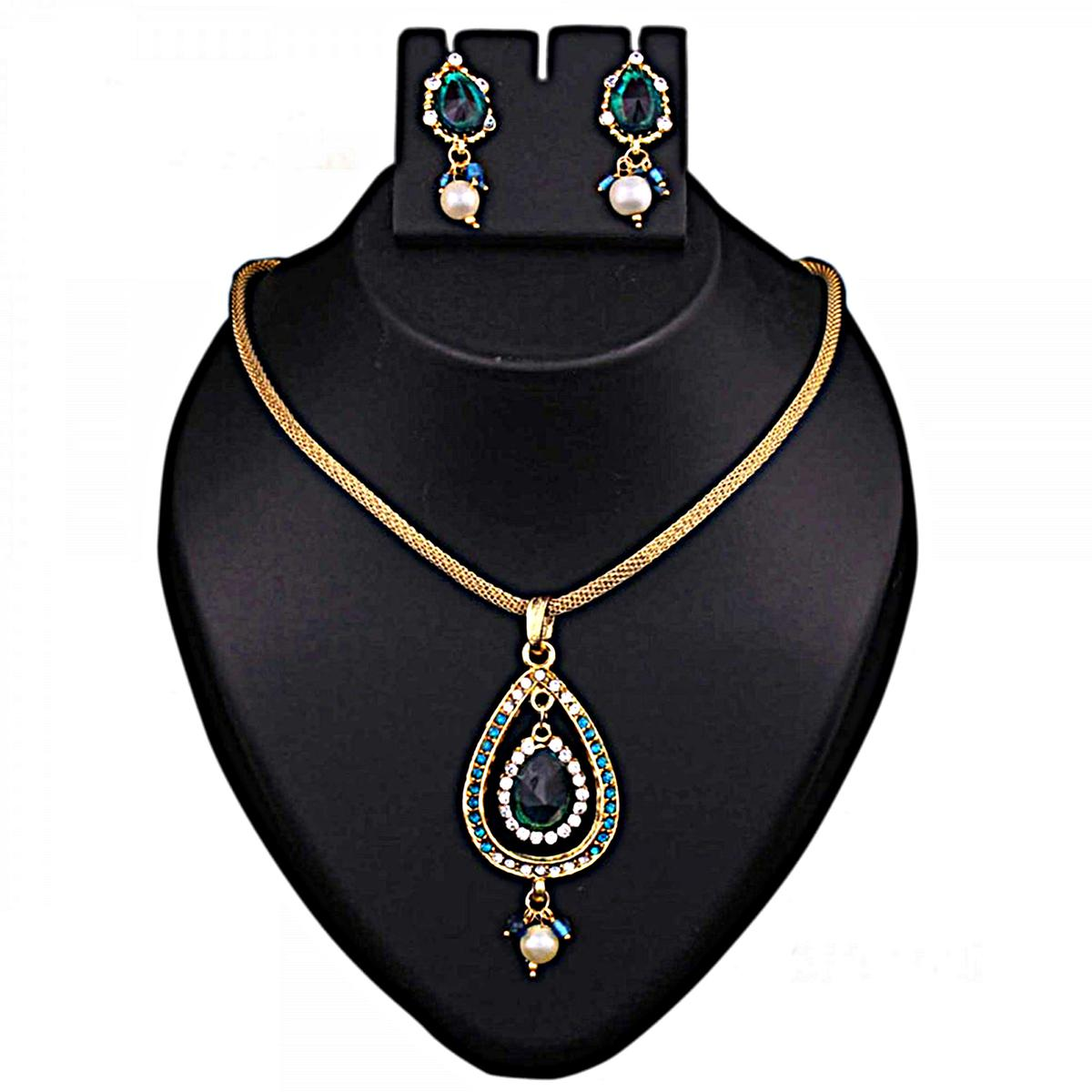 Blue Austrian Stone Gold Finish Pendant Set