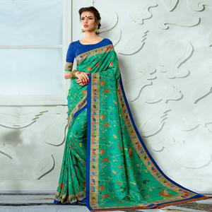 Flattering Green Colored Casual Wear Digital Printed Tussar Silk Saree