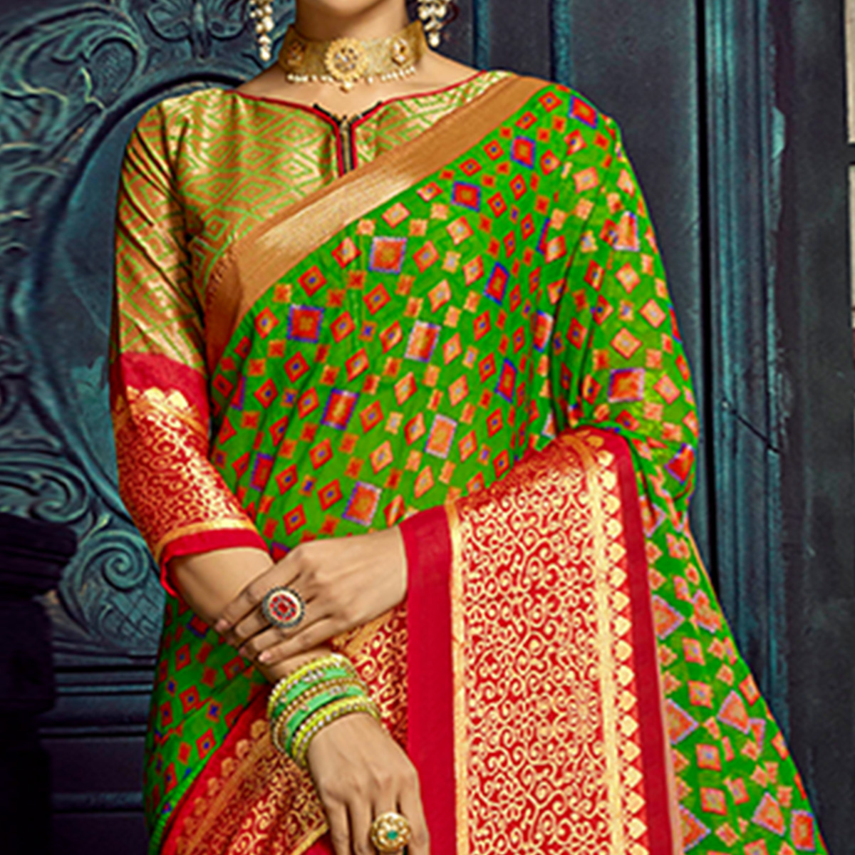 Mesmerising Green Colored Festive Wear Woven Chiffon Brasso Saree