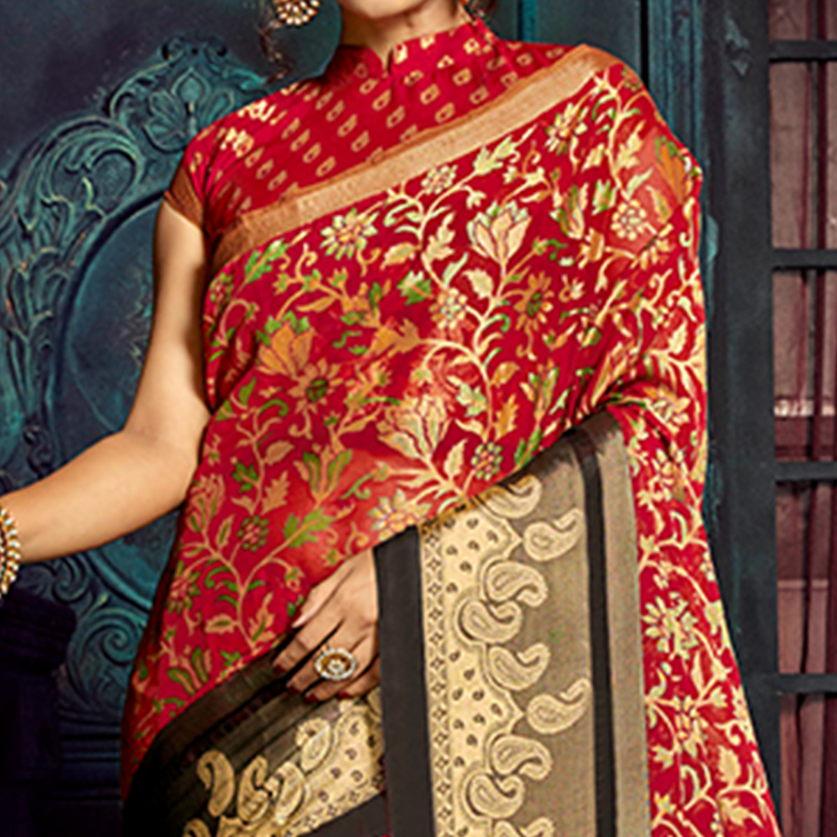 Magnetic Red Colored Festive Wear Woven Chiffon Brasso Saree