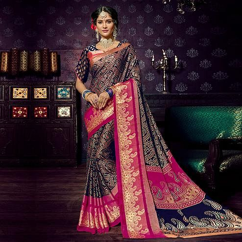 Attractive Navy Blue Colored Festive Wear Woven Chiffon Brasso Saree