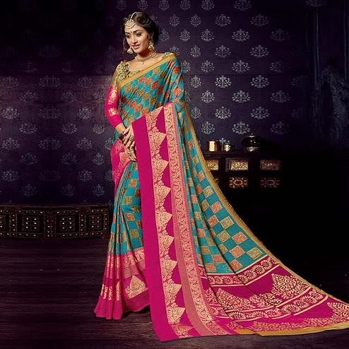 Blooming Sky Blue Colored Festive Wear Woven Chiffon Brasso Saree