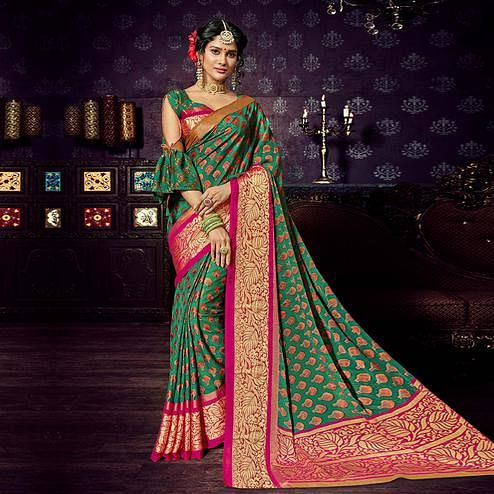 Irresistible Green Colored Festive Wear Woven Chiffon Brasso Saree