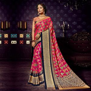 Eye-Catching Dark Pink Colored Festive Wear Woven Chiffon Brasso Saree