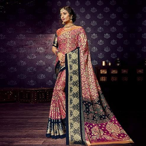Staring Magenta Pink Colored Festive Wear Woven Chiffon Brasso Saree
