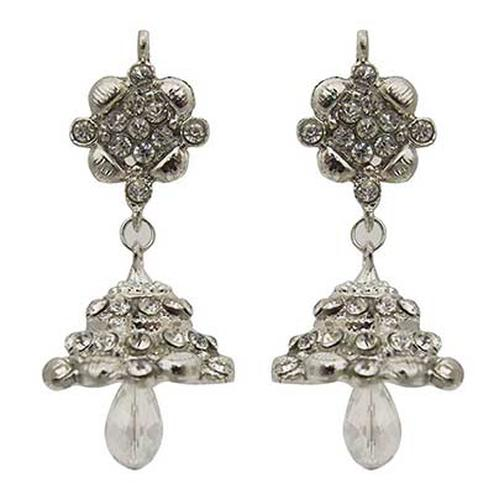 White Austrian Stone Rhodium Finish Jhumki Earrings