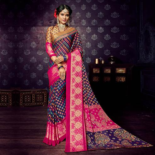 Gorgeous Purple-Pink Colored Festive Wear Woven Chiffon Brasso Saree