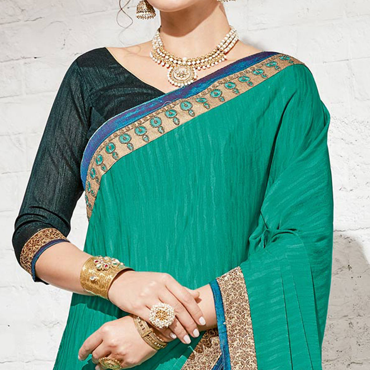 Snazzy Green & Teal Green Colored Party Wear Embroidered Half-Half Georgette Saree