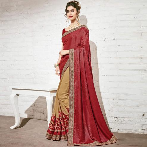 Adorning Beige & Maroon Colored Party Wear Embroidered Half-Half Georgette Saree
