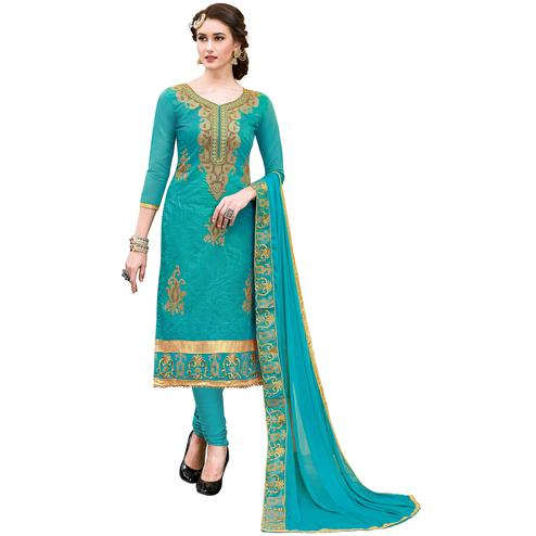 Eye-Catching Blue Colored Partywear Embroidered Modal Dress Material