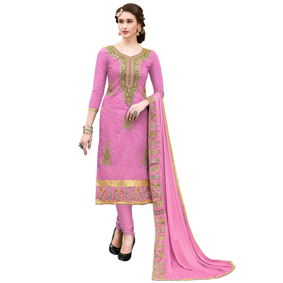 Lovely Pink Colored Partywear Embroidered Modal Dress Material