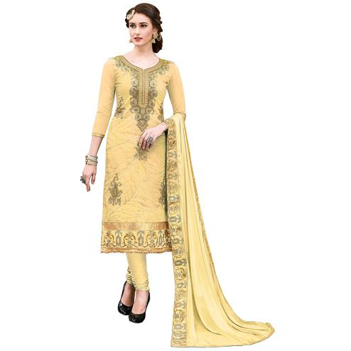 Classy Light Yellow Colored Partywear Embroidered Modal Dress Material