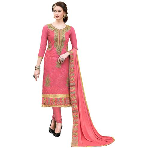 Stylish Pink Colored Partywear Embroidered Modal Dress Material