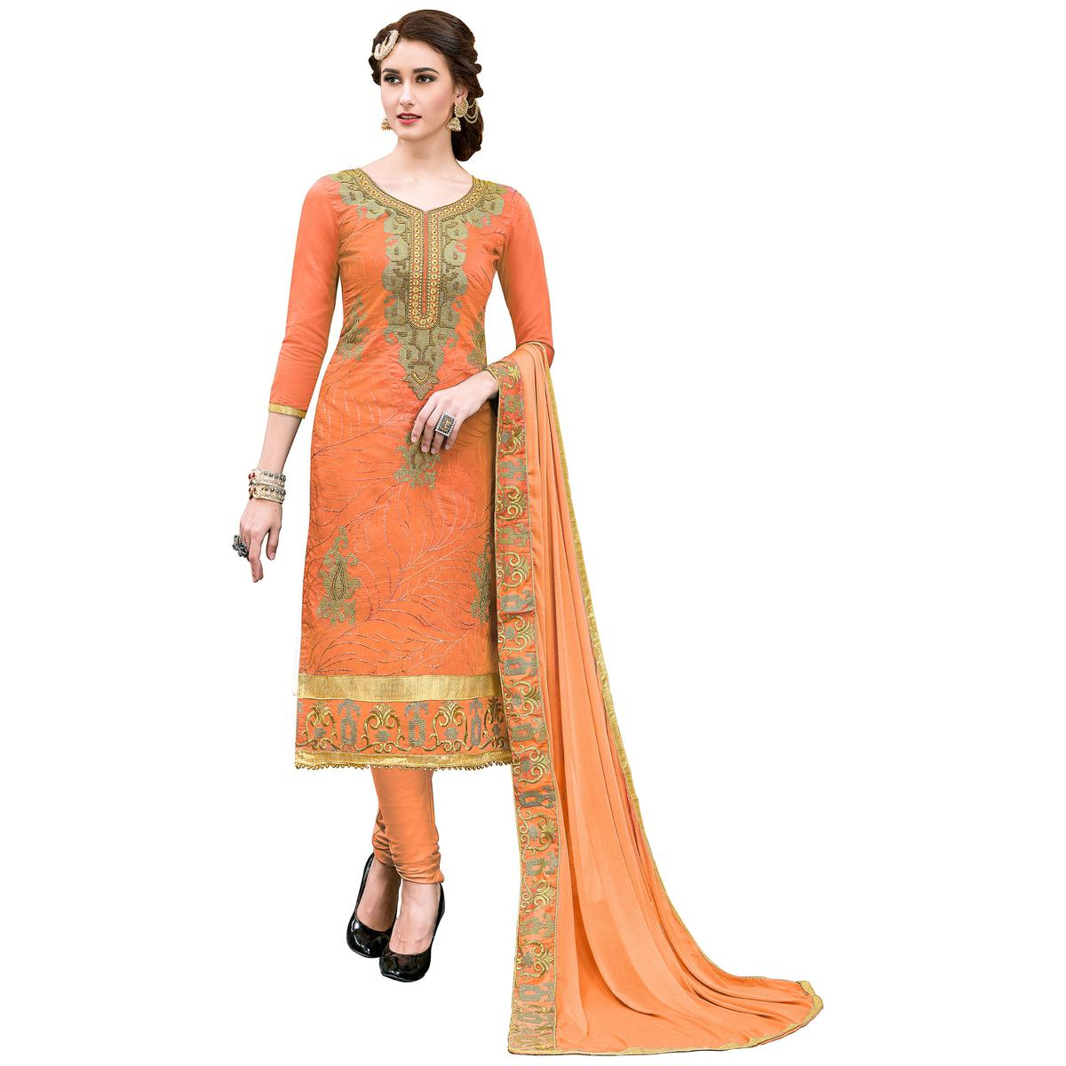 Amazing Orange Colored Partywear Embroidered Modal Dress Material