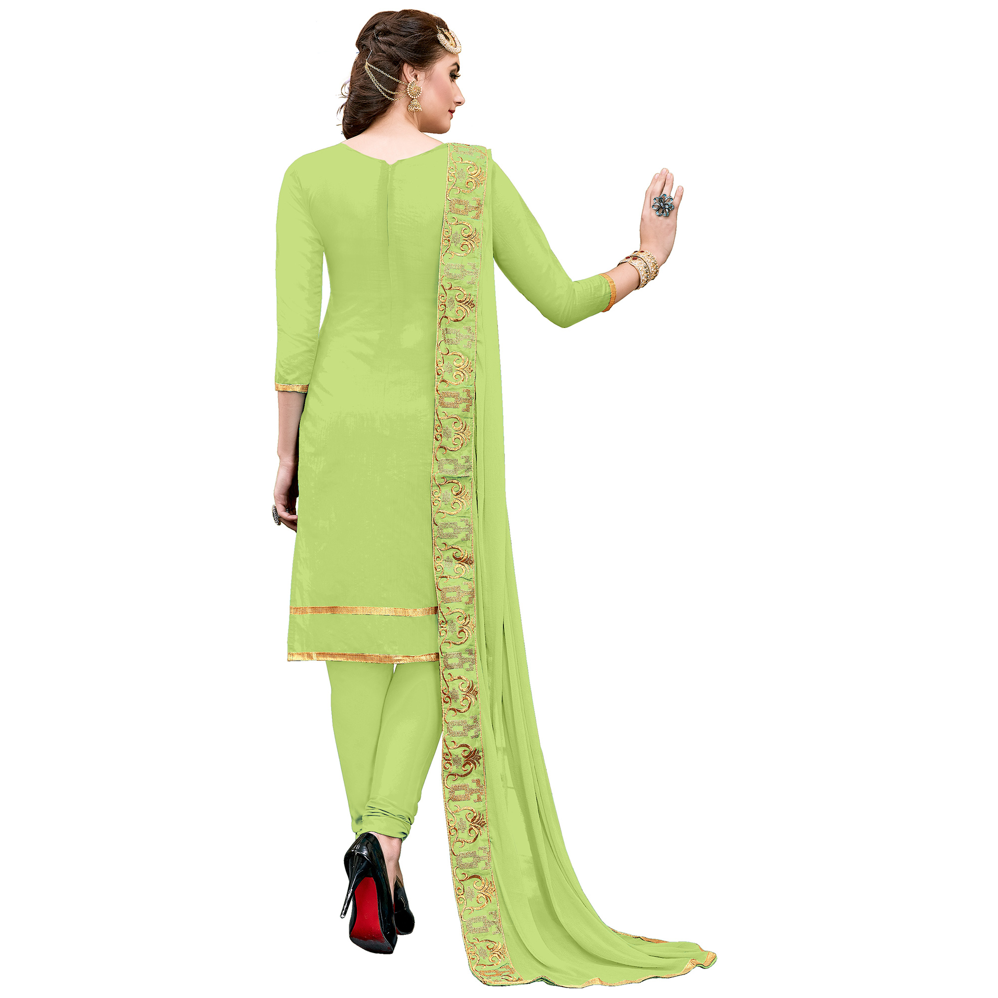 Appealing Light Green Colored Partywear Embroidered Modal Dress Material