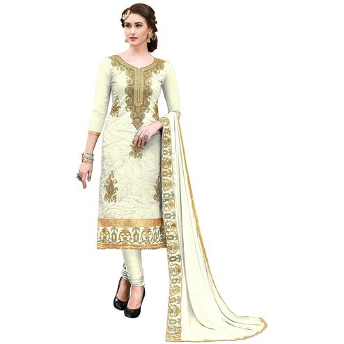 Elegant Off-White Colored Partywear Embroidered Modal Dress Material