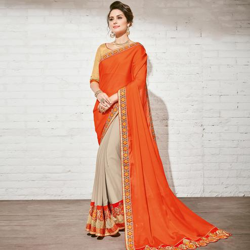 Prominent Cream & Orange Colored Party Wear Embroidered Half-Half Georgette Saree