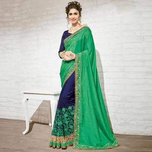 Deserving Blue & Green Colored Party Wear Embroidered Half-Half Georgette Saree
