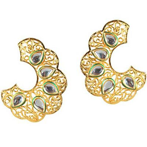 Kundan Green Meenakari Gold Finish Dangle Earrings