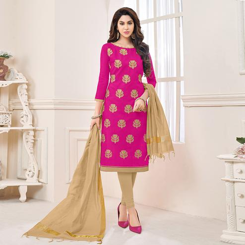Charming Pink Colored Partywear Embroidered Cotton Dress Material
