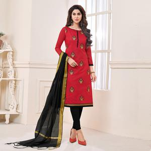Traditional Red Colored Partywear Embroidered Cotton Dress Material