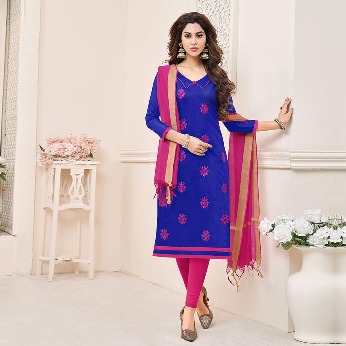 Desiring Blue Colored Partywear Embroidered Cotton Dress Material