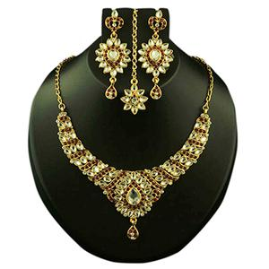 Kundan Maroon Austrian Stone Gold Finish Necklace Set With Maang Tikka