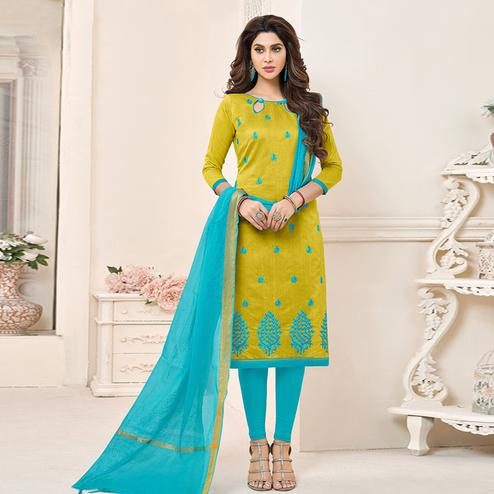 Refreshing Green Colored Partywear Embroidered Cotton Dress Material