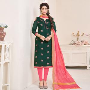 Blooming Dark Green Colored Partywear Embroidered Cotton Dress Material