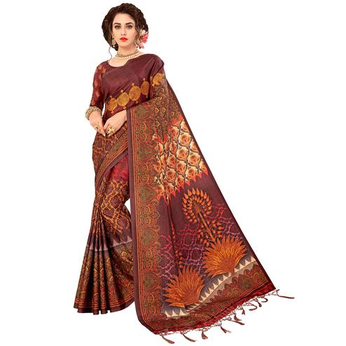 Exotic Brown Colored Casual Wear Digital Printed Art Silk Saree