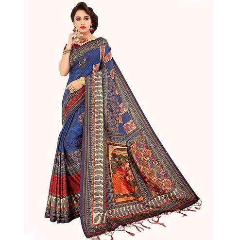 Glowing Multi Colored Casual Wear Digital Printed Art Silk Saree