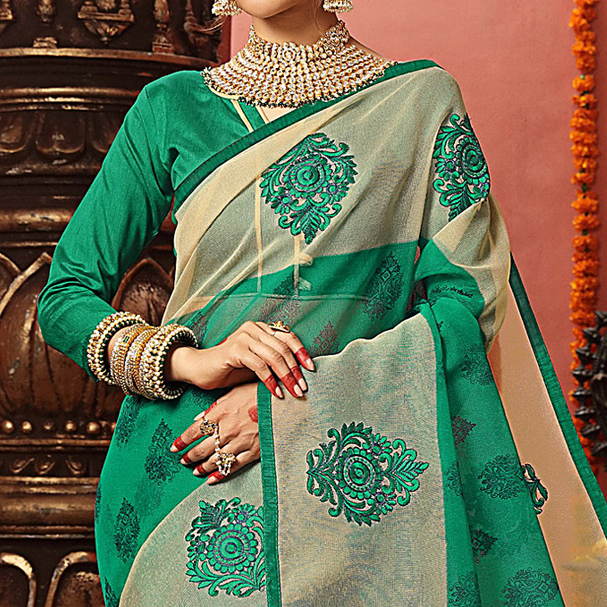 Blissful Green Colored Festive Wear Embroidered Art Silk Saree