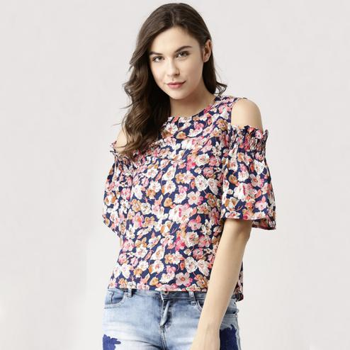 Classy Multicolor Colored Casual Wear Digital Printed Western Top
