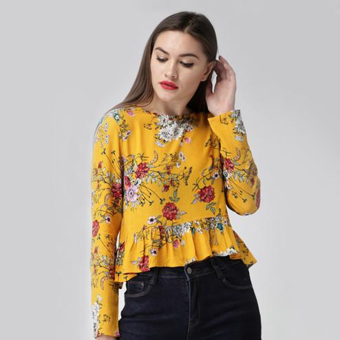 Amazing Dark Yellow Colored Casual Wear Digital Printed Western Top