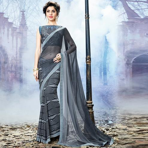 Stunning Grey Colored Party Wear Printed Georgette Saree