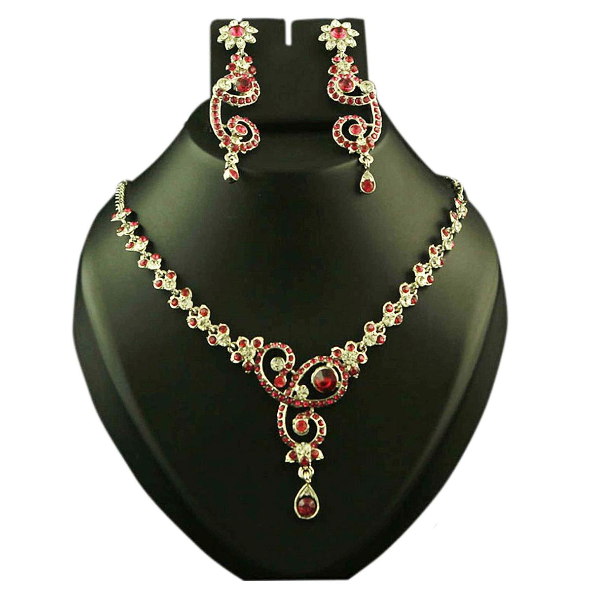 Pink Austrian Stone Rhodium Finish Necklace Set