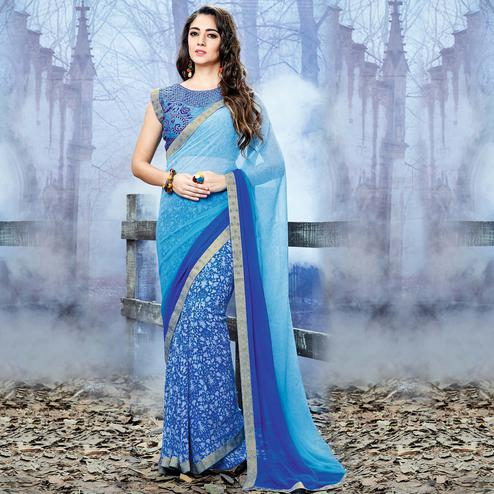 Blooming Blue Colored Party Wear Printed Georgette Saree