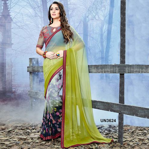 Gleaming Multi Colored Party Wear Printed Georgette Saree