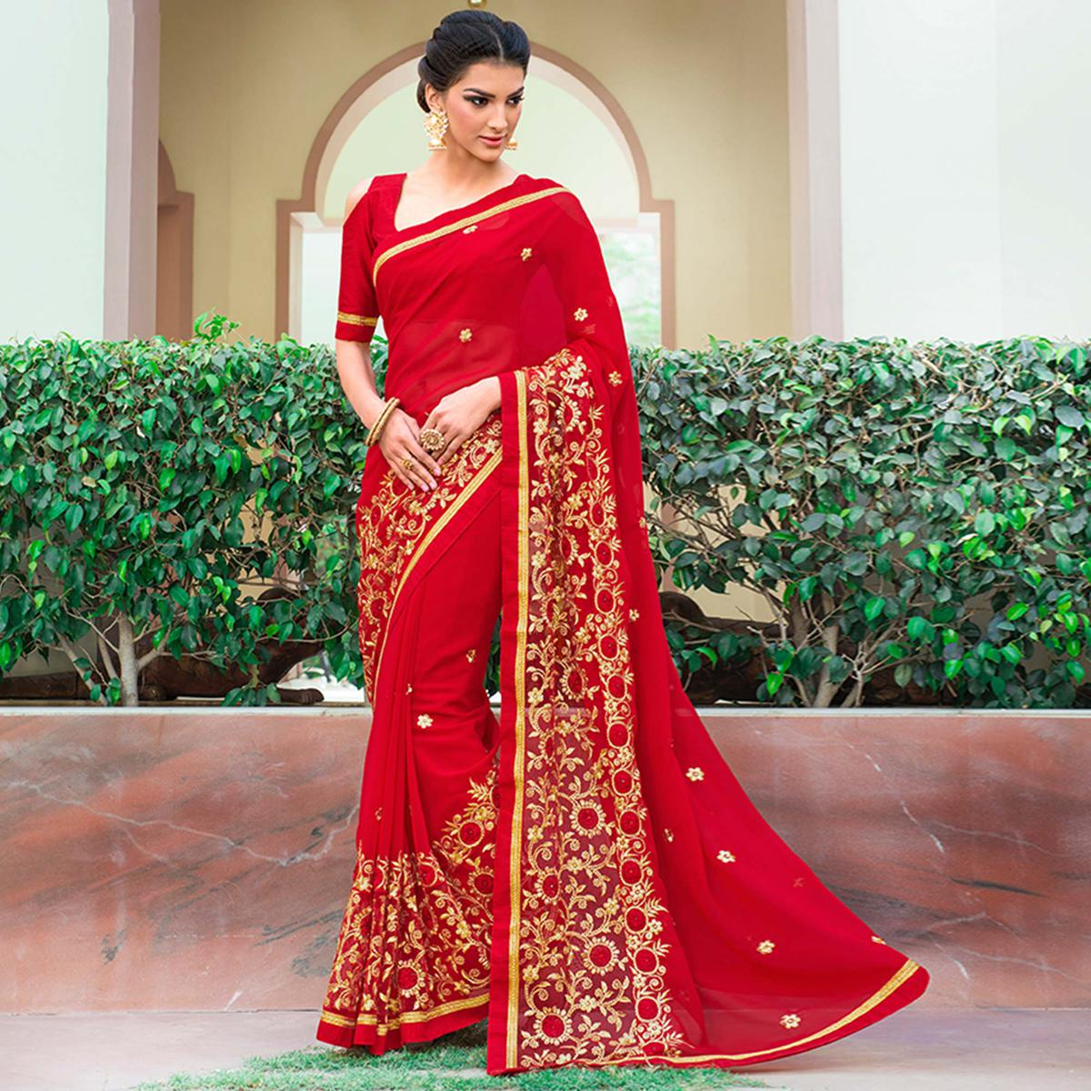 Engrossing Red Colored Party Wear Embroidered Georgette-Net Saree