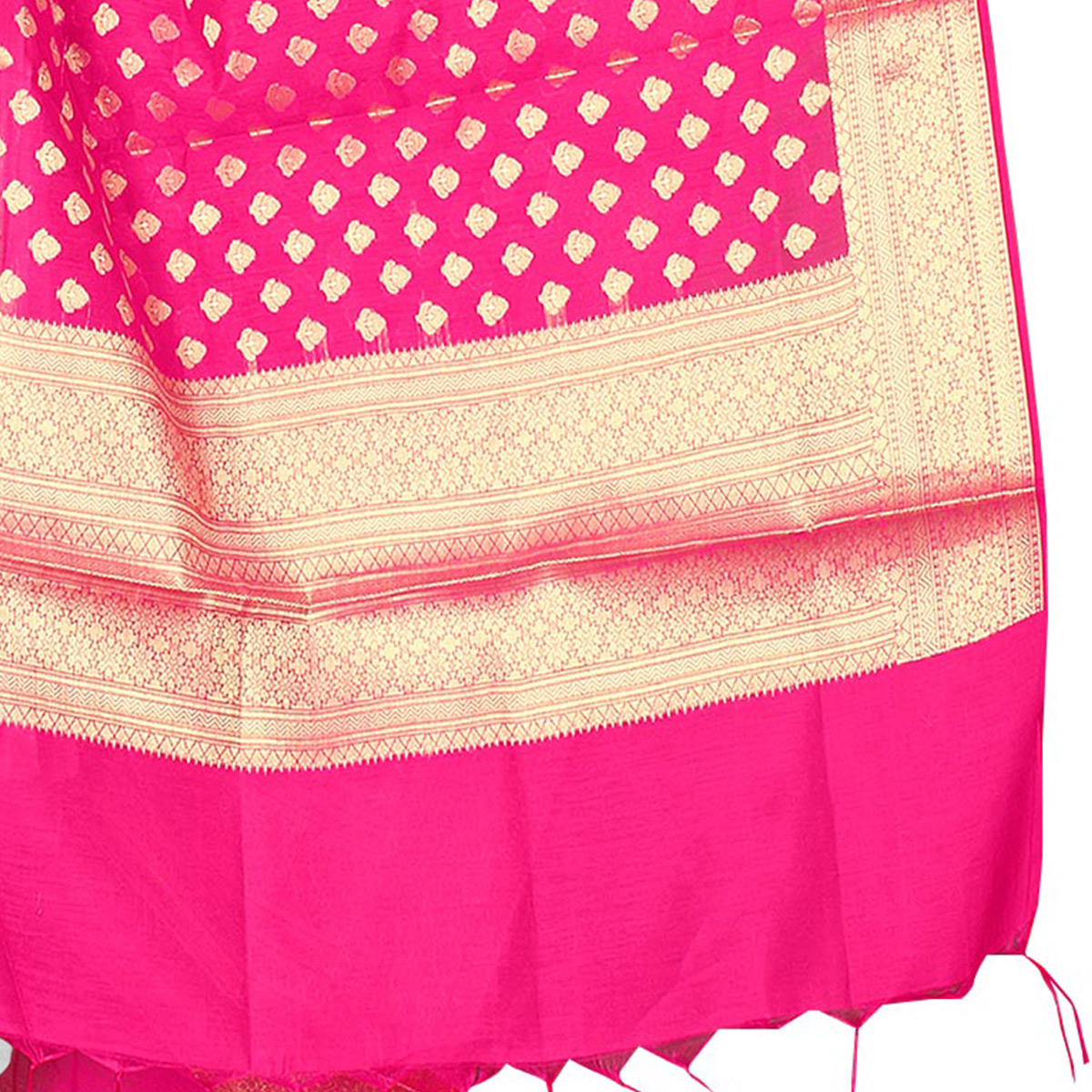 Charming Fuschia Pink Colored Banarasi Silk Dupatta