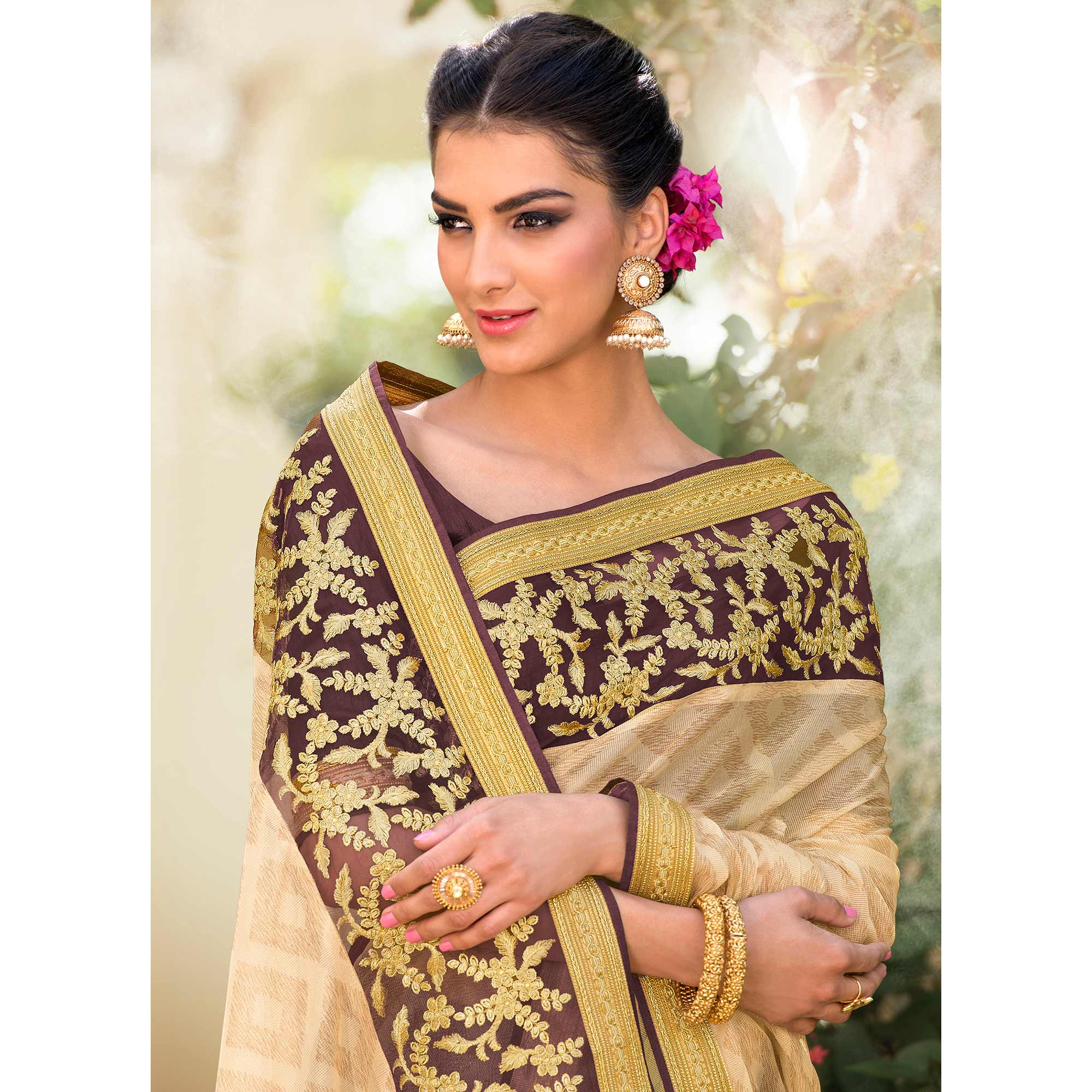Fantastic Brown & Beige Colored Party Wear Embroidered Net-lycra Saree