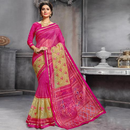 Adorable Pink Colored Festive Wear Printed Art Silk Saree