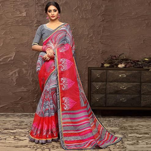 Ethnic Grey & Pink Colored Party Wear Embroidered Cotton Art Silk Saree