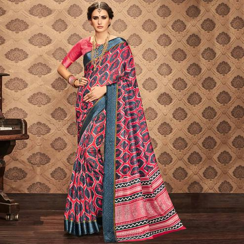Blooming Pink & Grey Colored Festive Wear Printed Art Silk Saree