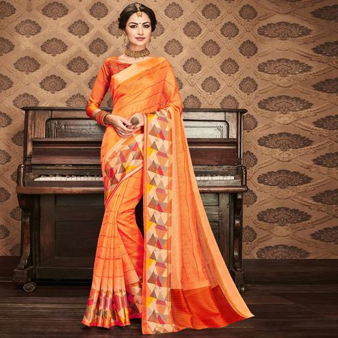 Amazing Orange Colored Festive Wear Printed Art Silk Saree