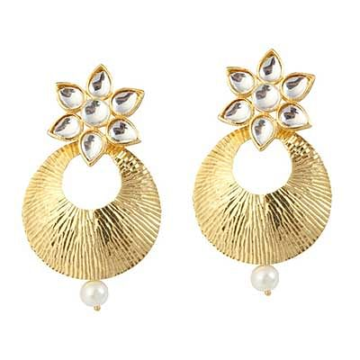 Kundan Pearl Gold Finish Earrings