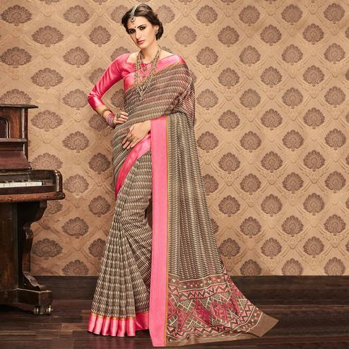 Glowing Light Brown Colored Festive Wear Printed Art Silk Saree