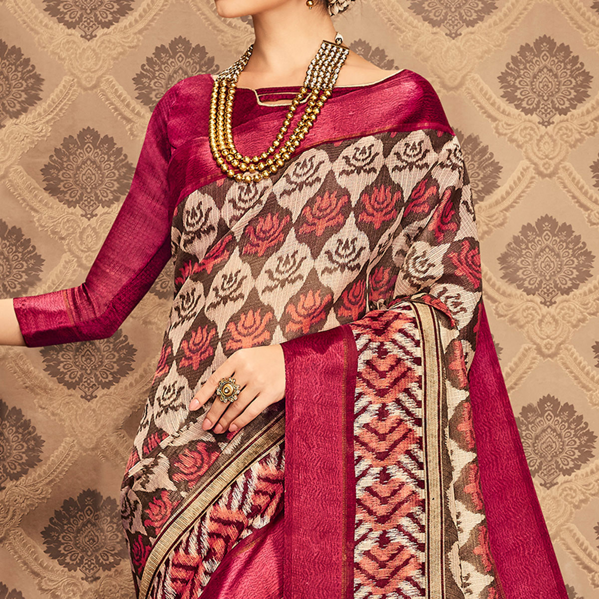 Awesome Brown & Magenta Colored Festive Wear Printed Art Silk Saree