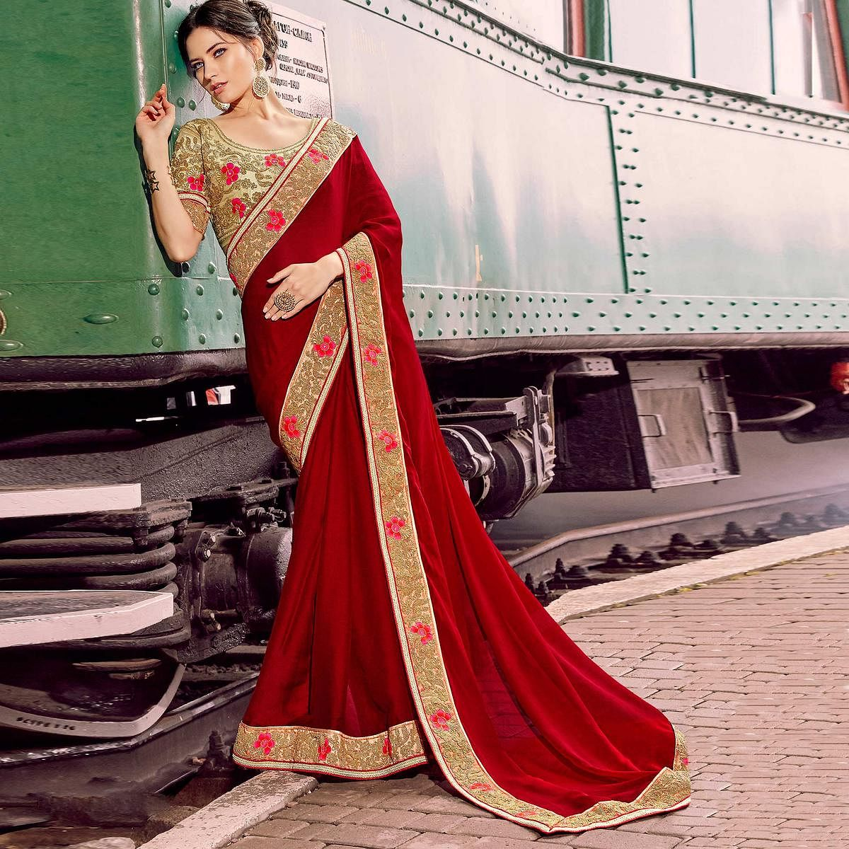 Impressive Red Colored Party Wear Embroidered Silk Chiffon Saree