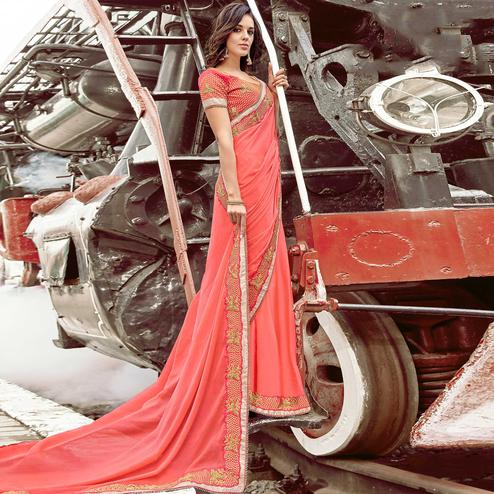 Innovative Peach Colored Party Wear Embroidered Silk Chiffon Saree